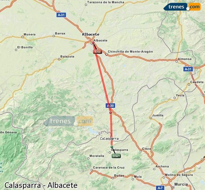 Enlarge map Trains Calasparra to Albacete