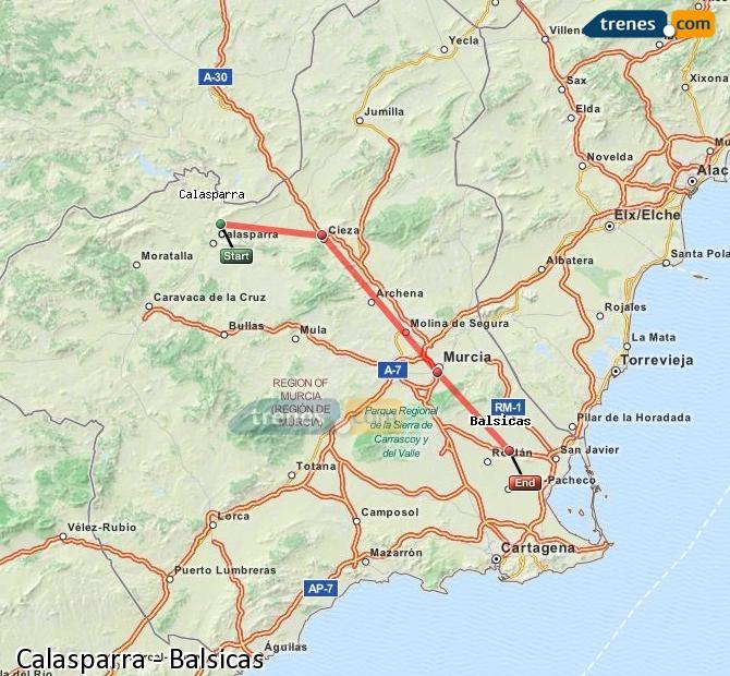 Enlarge map Trains Calasparra to Balsicas