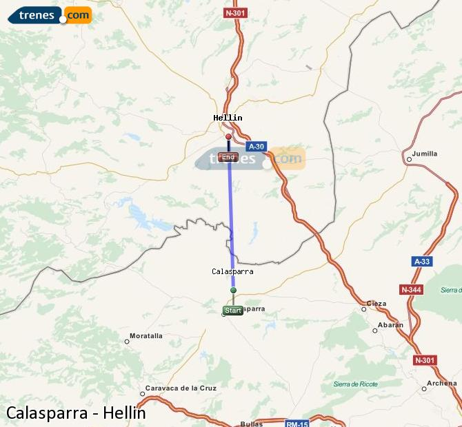 Karte vergrößern Züge Calasparra Hellín