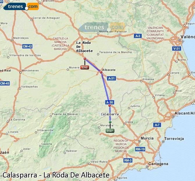 Ingrandisci la mappa Treni Calasparra La Roda De Albacete