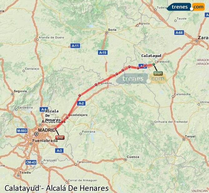 Enlarge map Trains Calatayud to Alcalá De Henares