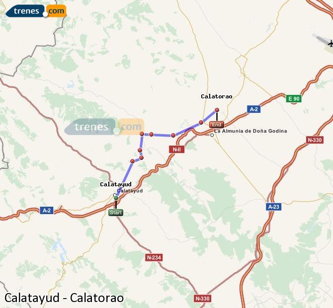 Ingrandisci la mappa Treni Calatayud Calatorao