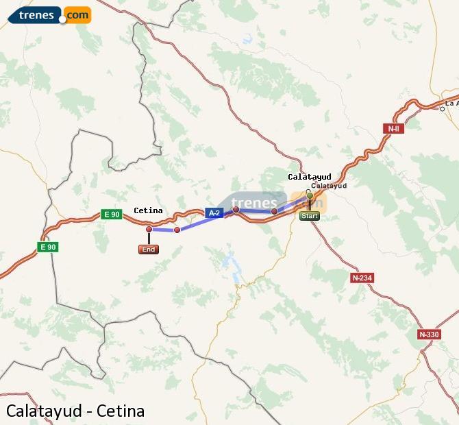 Ampliar mapa Trenes Calatayud Cetina