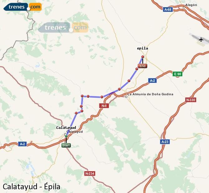 Enlarge map Trains Calatayud to Epila