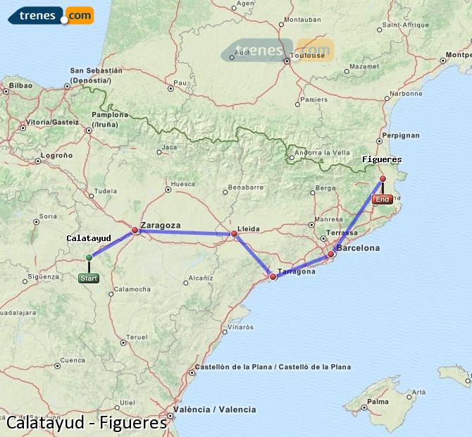 Enlarge map Trains Calatayud to Figueres