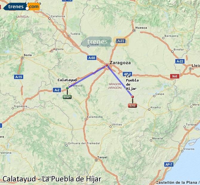 Agrandir la carte Trains Calatayud La Puebla de Híjar