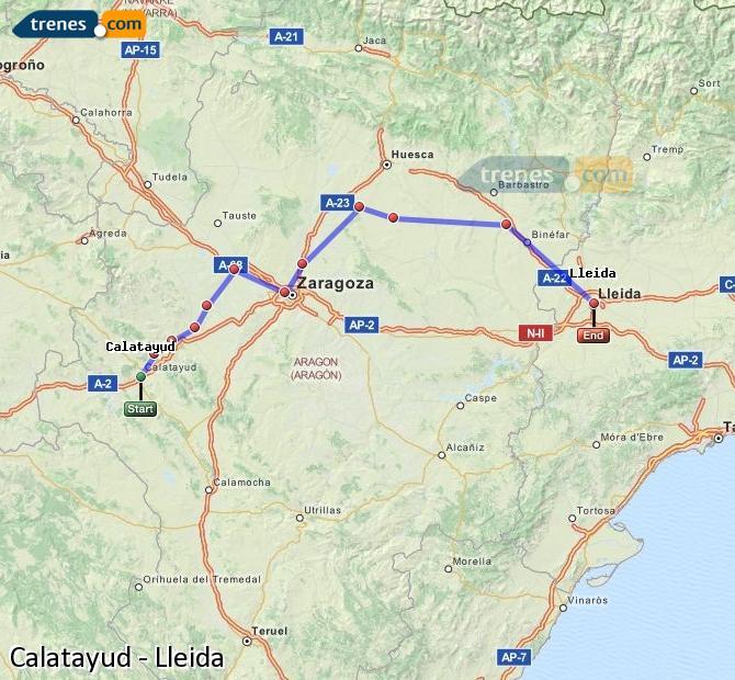 Karte vergrößern Züge Calatayud Lleida