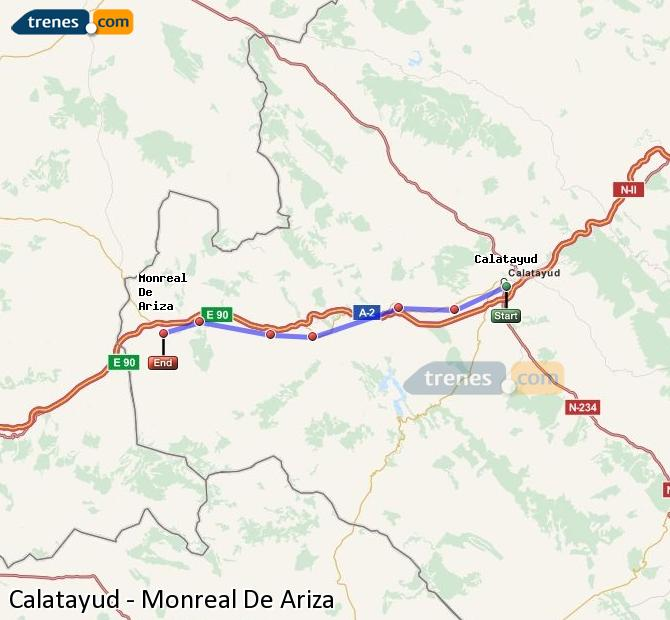 Ingrandisci la mappa Treni Calatayud Monreal De Ariza