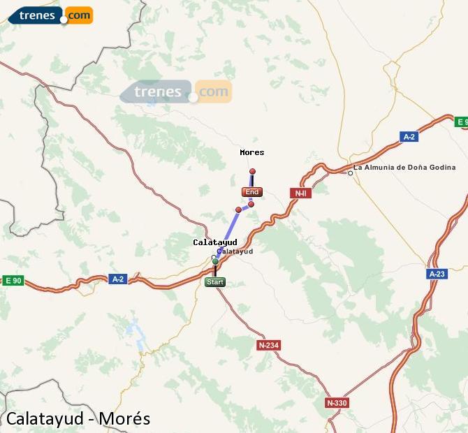 Ampliar mapa Comboios Calatayud Morés
