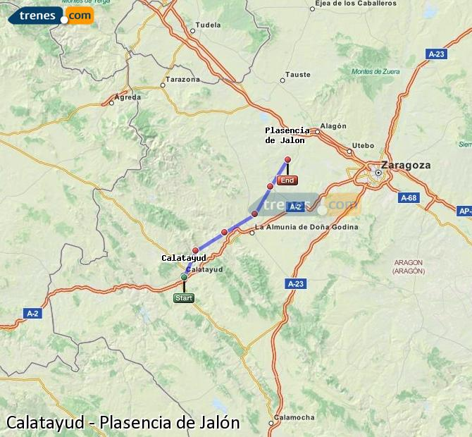 Karte vergrößern Züge Calatayud Plasencia de Jalón