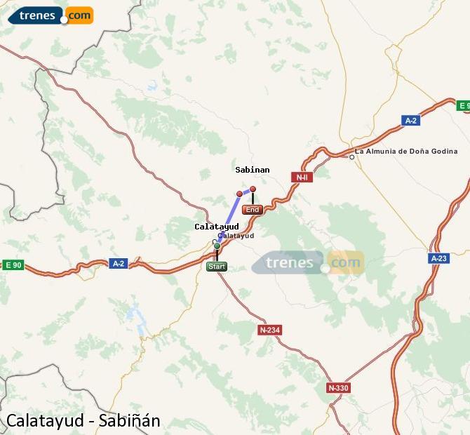 Agrandir la carte Trains Calatayud Sabiñán
