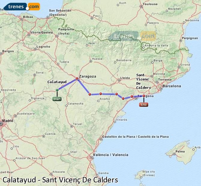 Karte vergrößern Züge Calatayud Sant Vicenç De Calders