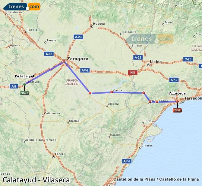 Enlarge map Trains Calatayud to Vilaseca