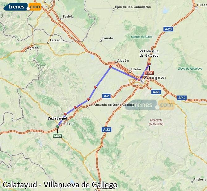 Agrandir la carte Trains Calatayud Villanueva de Gállego