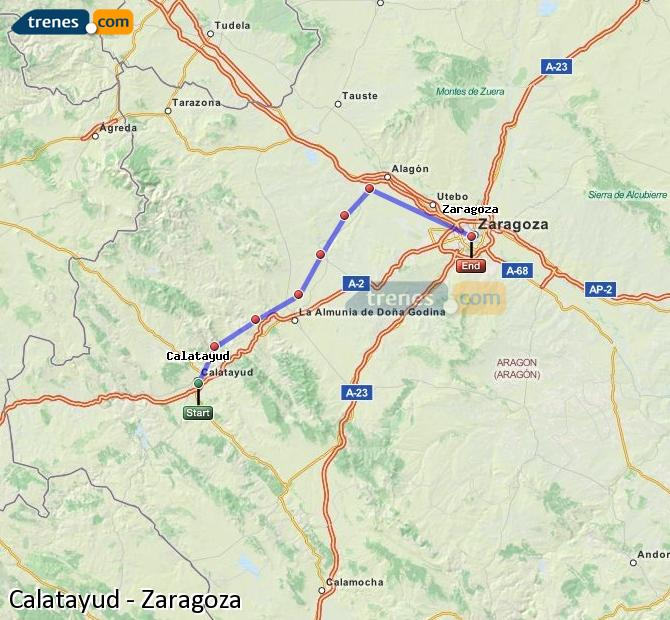 Enlarge map Trains Calatayud to Zaragoza