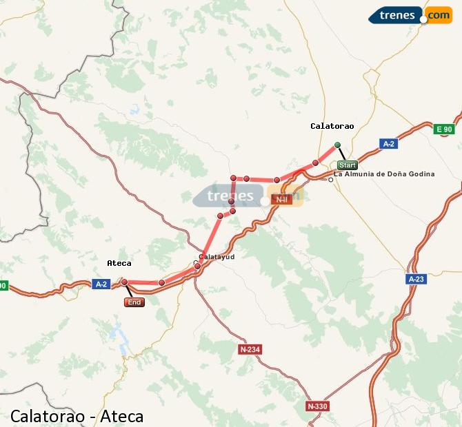 Enlarge map Trains Calatorao to Ateca