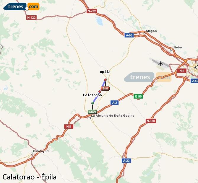 Enlarge map Trains Calatorao to Epila