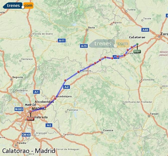 Karte vergrößern Züge Calatorao Madrid
