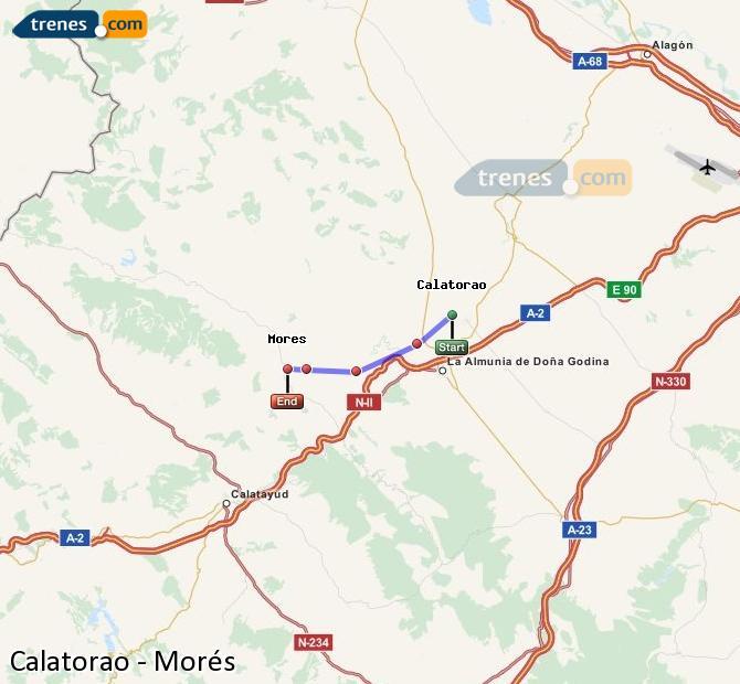 Karte vergrößern Züge Calatorao Morés
