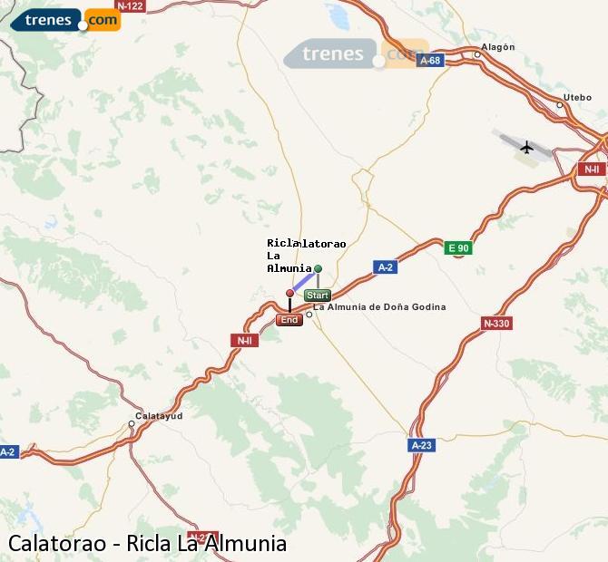 Ingrandisci la mappa Treni Calatorao Ricla La Almunia