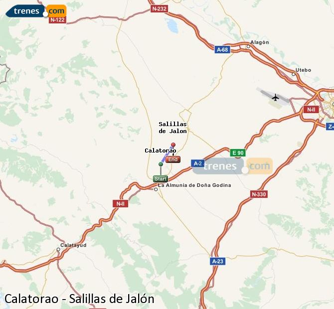 Karte vergrößern Züge Calatorao Salillas de Jalón