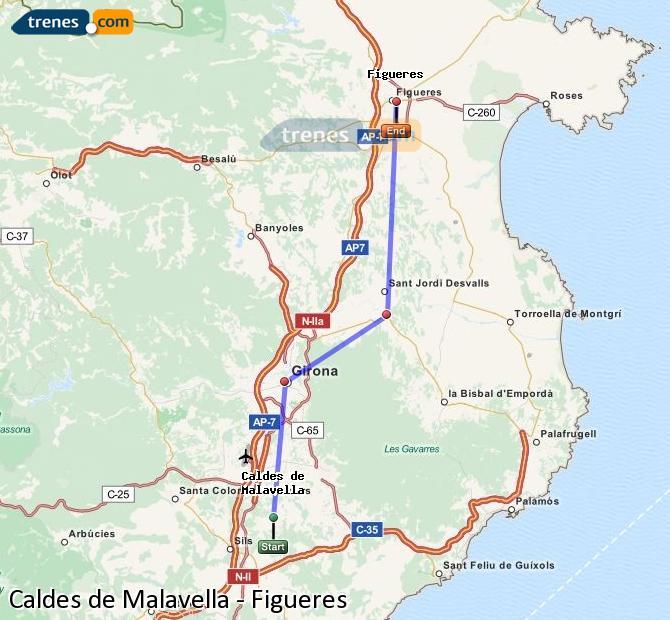 Agrandir la carte Trains Caldes de Malavella Figueres