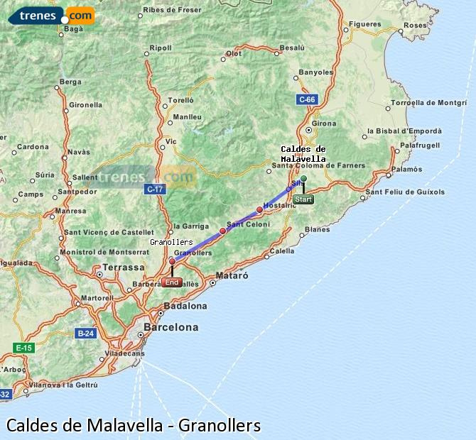 Ampliar mapa Comboios Caldes de Malavella Granollers
