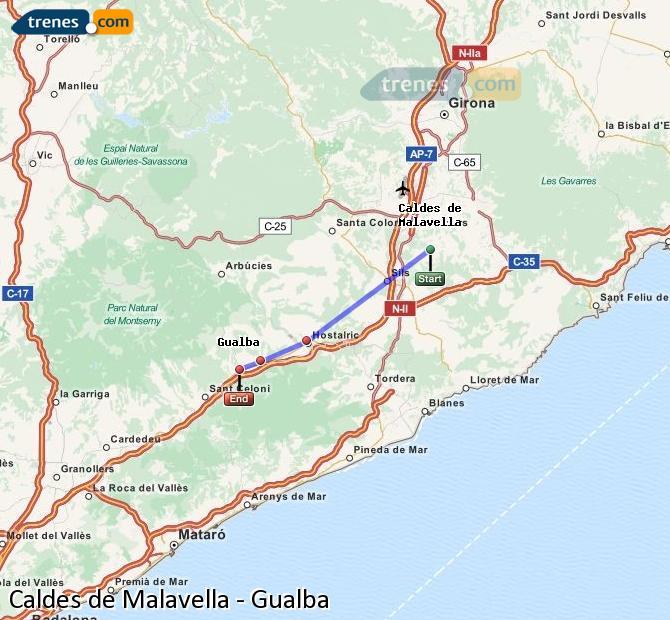 Karte vergrößern Züge Caldes de Malavella Gualba
