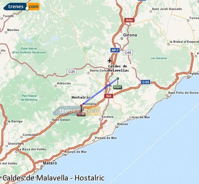 Ampliar mapa Trenes Caldes de Malavella Hostalric
