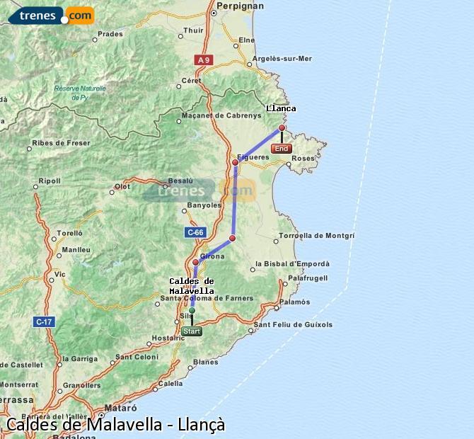 Ingrandisci la mappa Treni Caldes de Malavella Llançà