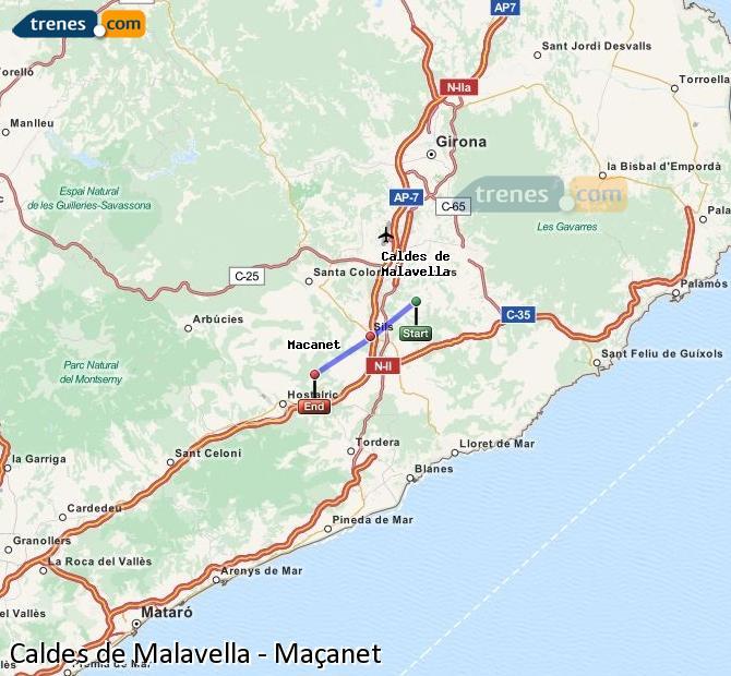 Ampliar mapa Trenes Caldes de Malavella Maçanet