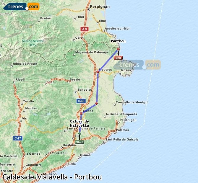 Enlarge map Trains Caldes de Malavella to Portbou