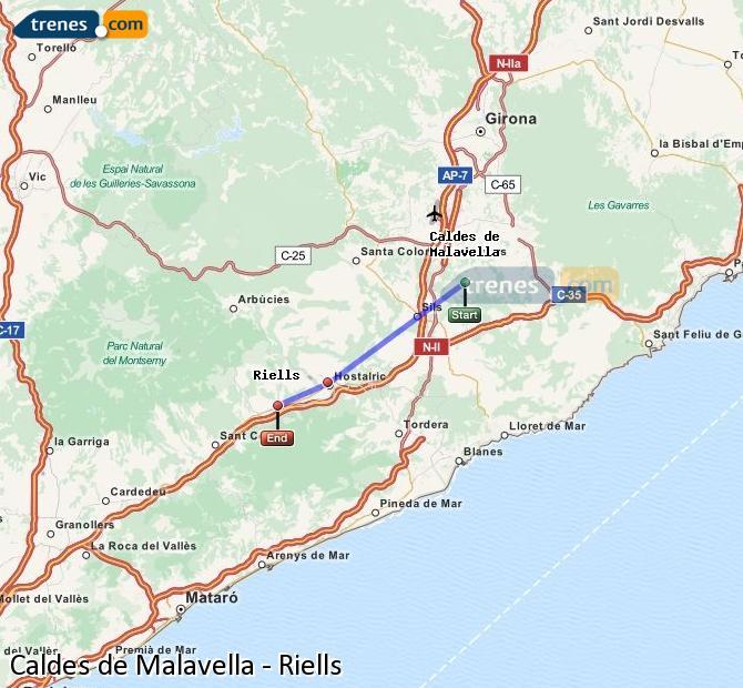 Agrandir la carte Trains Caldes de Malavella Riells
