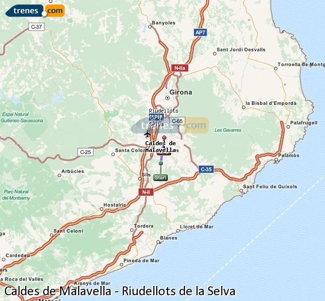 Enlarge map Trains Caldes de Malavella to Riudellots de la Selva