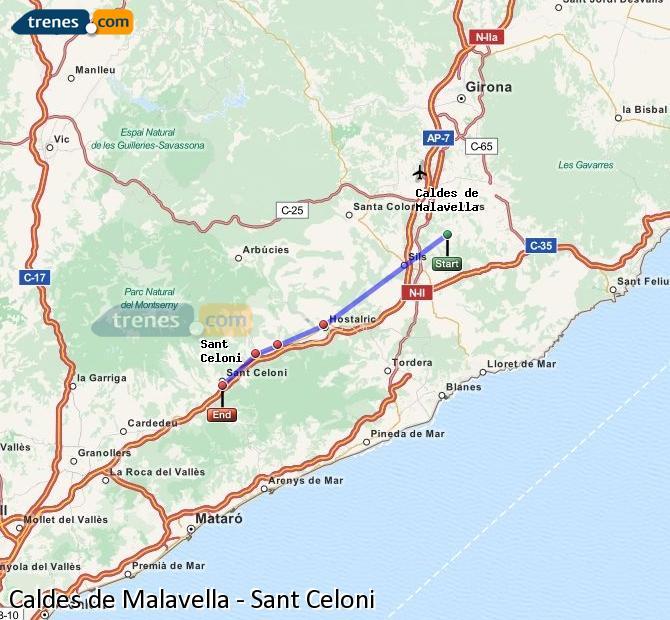 Ampliar mapa Comboios Caldes de Malavella Sant Celoni