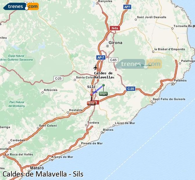 Enlarge map Trains Caldes de Malavella to Sils