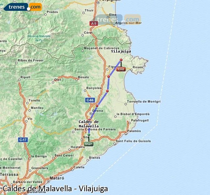 Agrandir la carte Trains Caldes de Malavella Vilajuiga