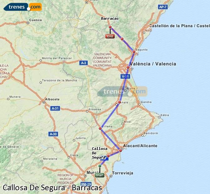 Enlarge map Trains Callosa De Segura to Barracks