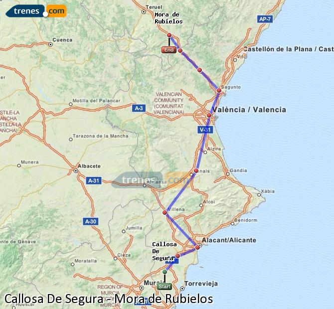 Enlarge map Trains Callosa De Segura to Mora de Rubielos
