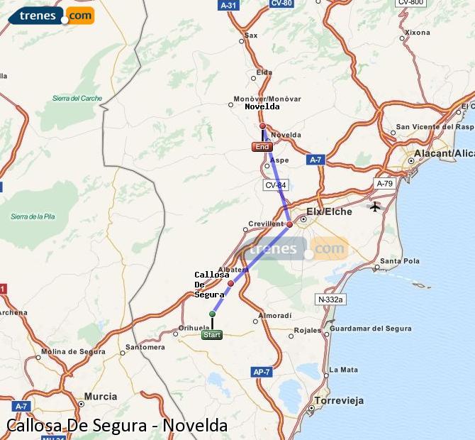 Ampliar mapa Comboios Callosa De Segura Novelda