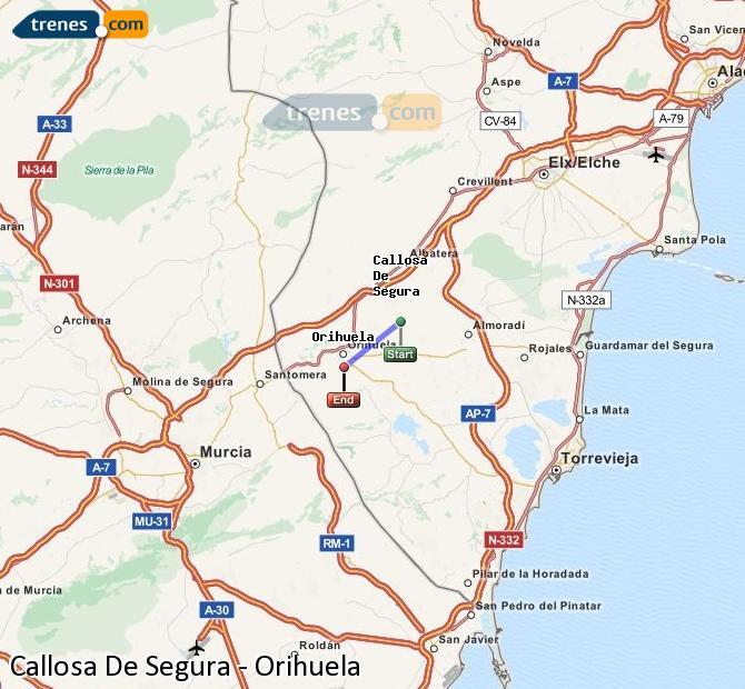 Agrandir la carte Trains Callosa De Segura Orihuela
