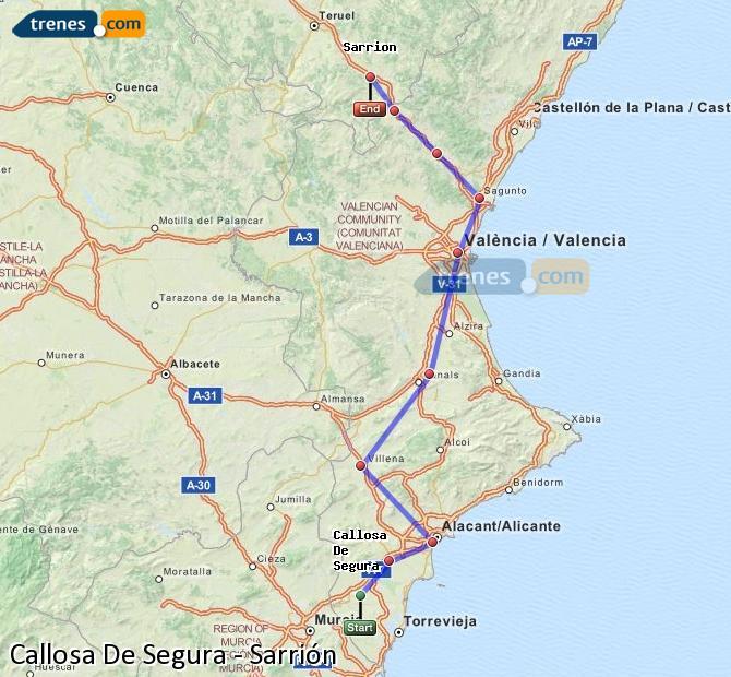 Ingrandisci la mappa Treni Callosa De Segura Sarrión