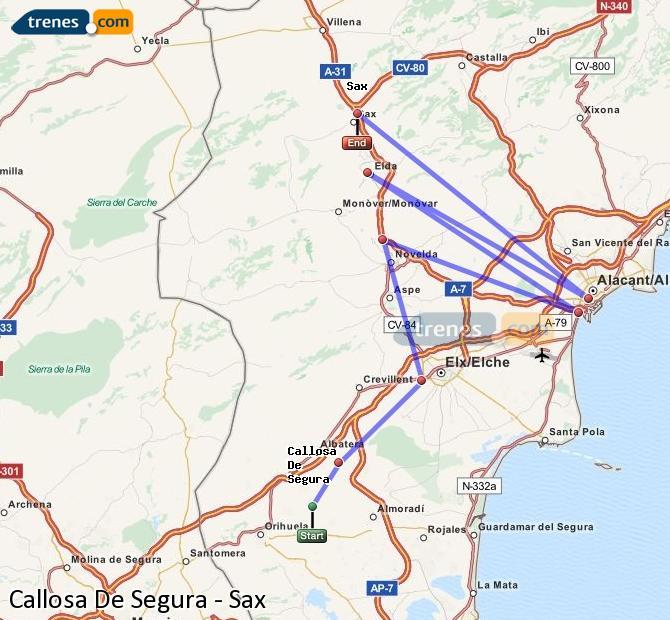 Enlarge map Trains Callosa De Segura to Sax