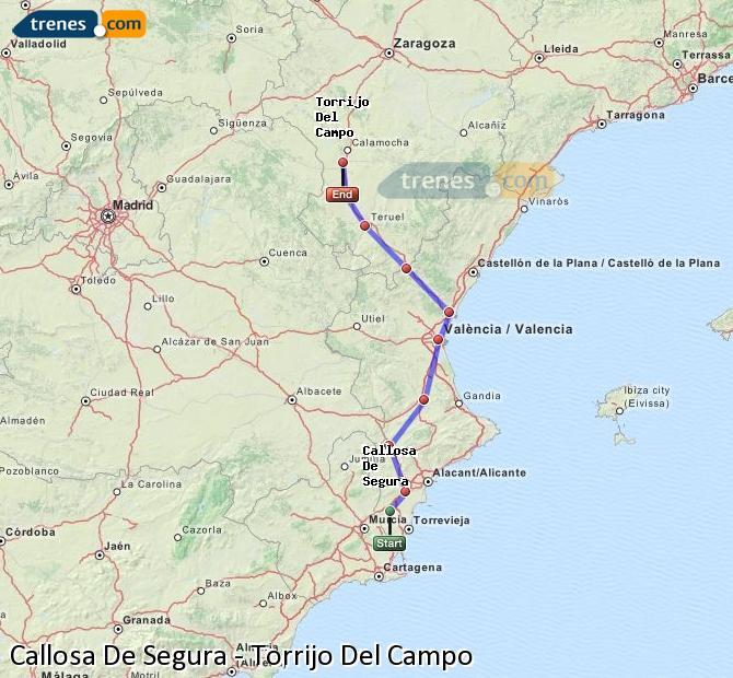 Agrandir la carte Trains Callosa De Segura Torrijo Del Campo