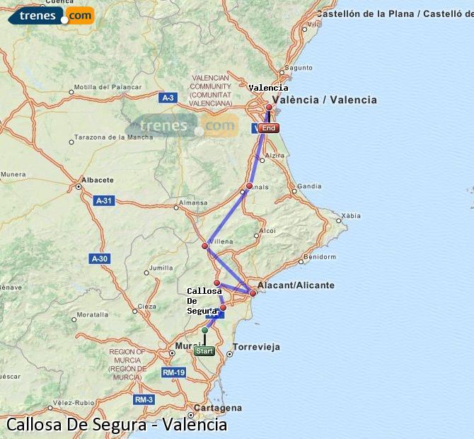 Enlarge map Trains Callosa De Segura to Valencia
