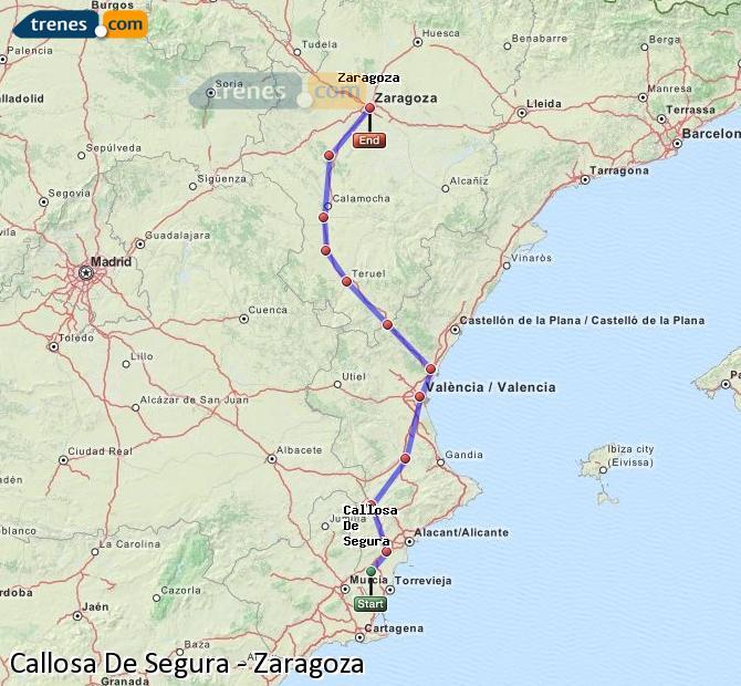 Agrandir la carte Trains Callosa De Segura Zaragoza