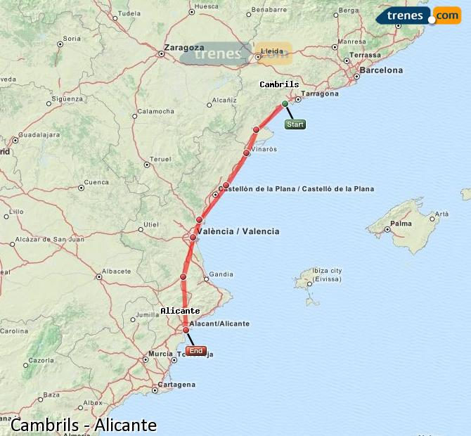 Karte vergrößern Züge Cambrils Alicante
