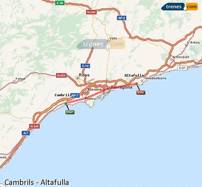 Agrandir la carte Trains Cambrils Altafulla