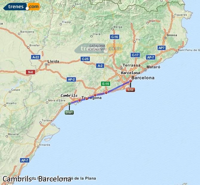 Ampliar mapa Trenes Cambrils Barcelona