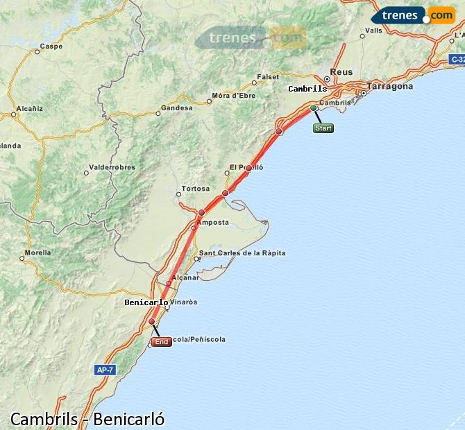 Enlarge map Trains Cambrils to Benicarló